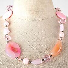Collier Kette Halskette rosa orange Glas + Edelsteine Halbedelsteine Rosenquarz