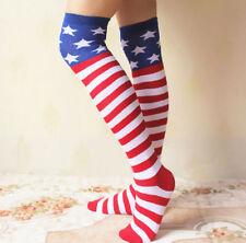 New listing Usa Flag Knit Thigh High Socks American Stars and Stripes Banner Hold Up Socks