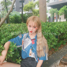 Korean summer rose loose printed shirt TOP Blouse Blue printed women lovely new