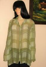 Jean Paul Richard Uniform Women Blouse Long Sleeve Size L 100% Silk  NWT Green