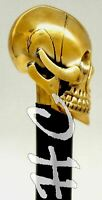 Antique Brass Victorian Handle Walking Stick Cane skull Long Vintage cane gift