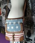 Patriotic Red White Blue American Flag Distressed Destroyed Crossbody Bag Purse
