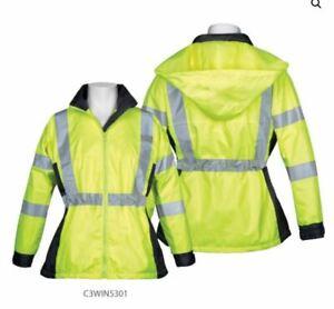 Size S/M, WOMENS SAFETY JACKET WINDBREAKER C3WIN5301 Neon Yellow Lime
