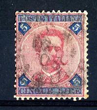 ITALIA - Regno - 1891/96 - Effigie di Umberto I° - 5 lire carminio e azzurro