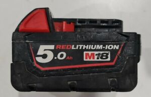 MILWAUKEE M18 18V 5.0AH RED LITHIUM ION BATTERY M18B5