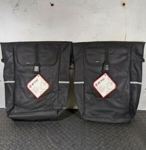 Pair of ETC Large 18 litre Pannier Bags, Black Bike Bicycle Cycling