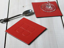 Set of 6 Red Square Embossed Leatherboard Coasters
