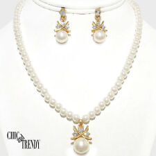 OFF WHITE PEARL CRYSTAL BRIDE WEDDING FORMAL FASHION NECKLACE JEWELRY SET CHIC