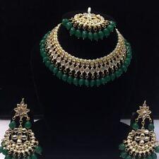 Green Kundan Necklace Earrings Tikka Bridal Indian Choker Fashion Jewelry Set