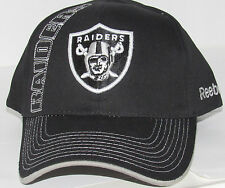 Oakland Raiders NFL Reebok Adjustable Cotton Hat Cap Black Adult Size