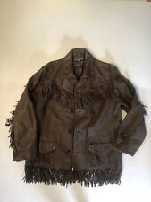 RALPH LAUREN Polo Sport  Brown Leather FRINGED Western RODEO Jacket Med