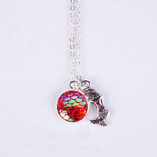 Mermaid Pendant Necklace with Gorgeous Red Glimmer Scale Charm