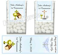 14 FIRST 1st HOLY COMMUNION PARTY FAVORS TIC TAC LABELS - BLUE