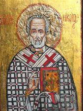 Hand Painted Orthodox Tempera Icon Saint Nicholas