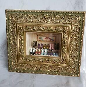 Artisian Roombox Dollhouse Miniature Shoe Display ~ Signed 5 x 7 Ornate Frame