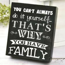 FAMILY Wood Box Sign Can't Do It Yourself Why You Have Family 5 x 6 Black