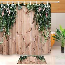 Rustic Board Green Leaves & Floral Shower Curtain Set Waterproof Fabric Hooks