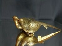 NEAR MINT! A Lovely Vintage Couple! Pair of Brass Pheasant Birds Grouse MCM