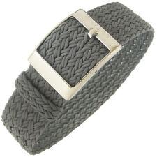 20mm Eulit PALMA Grey One-Piece Woven Nylon Perlon German Made Watch Band Strap