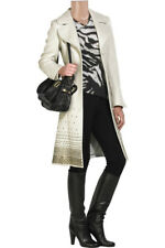 NEW ROBERTO CAVALLI OFF WHITE STUDDED WOOL TRENCH COAT 44 - 8