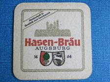 Vintage Beer Brewery Coaster ~ Brauerei Hasen Bräu ~ Augsburg, Bavaria, Germany