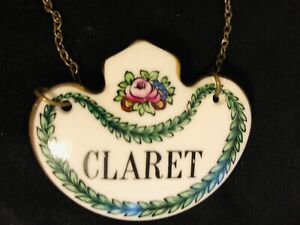 Staffordshire CLARET Fine Bone China Decanter Label