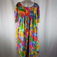 Vintage Jams World XL Hawaiian Aloha Muu Muu Muumuu Dress USA Bright Floral