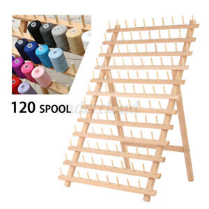 120Spool Wood Thread Cone Stand Rack Sewing Quilting Embroidery Holder Organizer