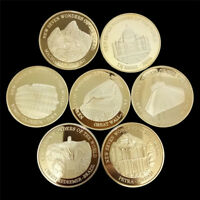 7pcs Seven Wonders of the World Gold Coins Set Commemorative Coin CollectioFBTE