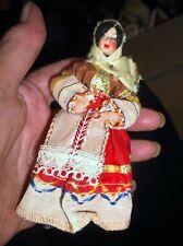"""Mini Vestido Vintage Disfraz De Muñeca Bordada Coleccionable Articulado brazos 4.75"""""""