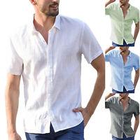 Men's Short Sleeve Summer T Shirts Casual Loose Dress Shirts Soft Blouse Top Tee