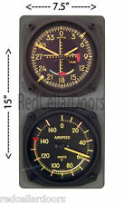 New TRINTEC VINTAGE GLIDESCOPE Clock w AIRSPEED Thermometer Aviator Console Set
