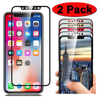 2 PK Full Coverage Tempered Glass Screen Protector for Apple iPhone X XR XS Max