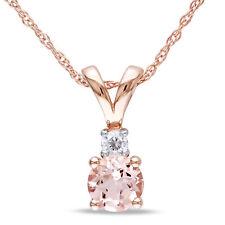 10k Diamantes Ouro Rosa & 1/2 Ct Morganite Colar Pingente Com Corrente Gh i2-i3