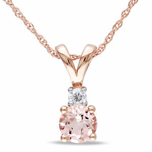 Amour 10k Rose Gold Morganite and Diamond Pendant Necklace