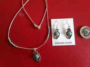 Silver Eagle with Turquoise Earrings or Necklace. Authentic Navajo Craftwork.