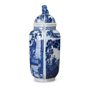 ONE 41cm Chinoiserie vase Blue and White Chinese Porcelain Ginger Jar Foo dog