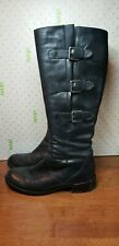 ECCO Hobart Black Leather 3 Buckle Riding Boots Mid Calf EU 39 US 9