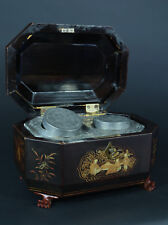 Boite à thé coffret ancien bois Noirci Japonisme Tea Napoléon III  Box 19ème