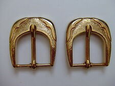 Lot Of 2 Rhode Island Buckle Co. Western Style Polished  Brass Belt Buckles USA
