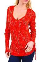 Maglia Blusa Donna BRAY STEVE ALAN Pullover Lustrini e Perline A322 Rosso Tg S