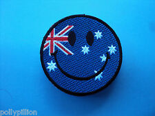 MOTORCYCLE RIDER BIKER SEW/IRON ON PATCH:- SMILEY FACE (h) AUSTRALIAN FLAG