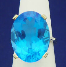 NEW 20 ct BLUE TOPAZ SOLITAIRE RING REAL SOLID 14 KW GOLD 9.1 g SIZE 6