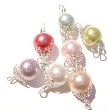 Charm Handmade USA Pearl Silver Gold Wire Wrapped Bead, 10 COLORS, 5 Qty