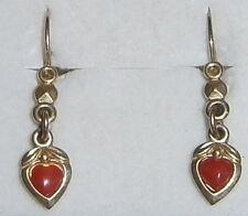 zierliche Ohrringe 333 Gold Herzen mit Koralle    (c8234)