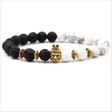 Lava Rock Howlite Beads Bracelets Gold Silver Lion Head Agate Women Men Bracelet