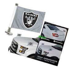 NFL Oakland Raiders 4x6 Size Car Flag 2-pc Ambassador Football Trunk Hood