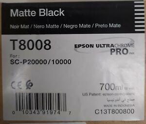GENUINE EPSON T8008 Matte Black 700ml Ink SC- P20000/10000 SEALED 2021/01