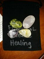 EMOTIONAL HEALING Tumbled Crystal Healing Set  4 Stones Pouch + Card