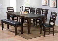 Casual Urbana Espresso/Black PU Set Dining Room Set Table Chairs & Bench 8pc